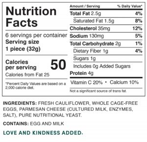 Nutrition Facts - Cauliflower Sandwich Thins